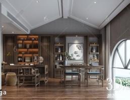 صحنه داخلی اتاق کار سبک چینی