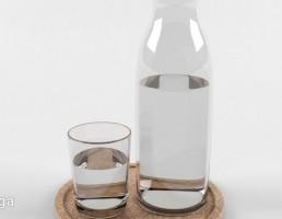 بطری آب + لیوان آب