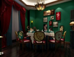 نمای داخلی سالن غذا خوری لوکس