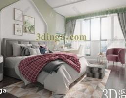 صحنه داخلی اتاق خواب سبک نوردیک