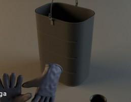سطل + دستکش باغبانی