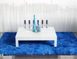 قالیچه خزدار + میز + وسایل تزیینی