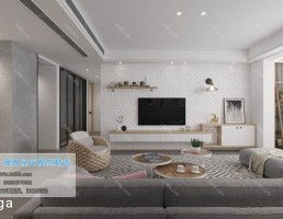 صحنه داخلی اتاق نشیمن سبک نوردیک